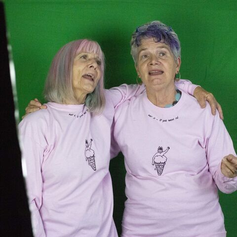 Katina and Clair in the green screen set up 'Moving Portraits'