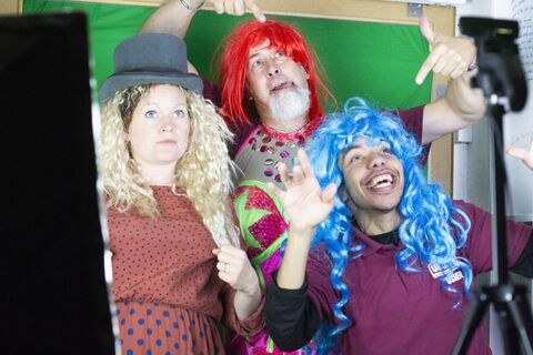 Gemma, Nick and DJ in the green screen