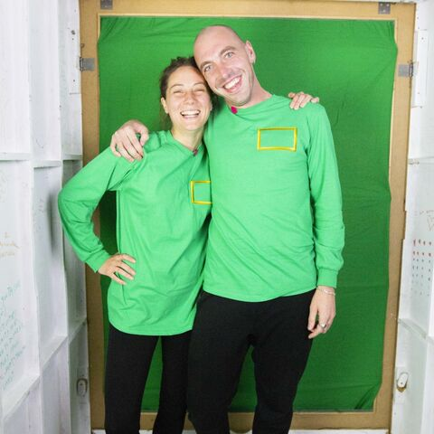 Josh and Jess in the green screen