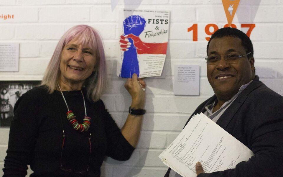 Katina and Roy with 'Fists & Fingernails' poster