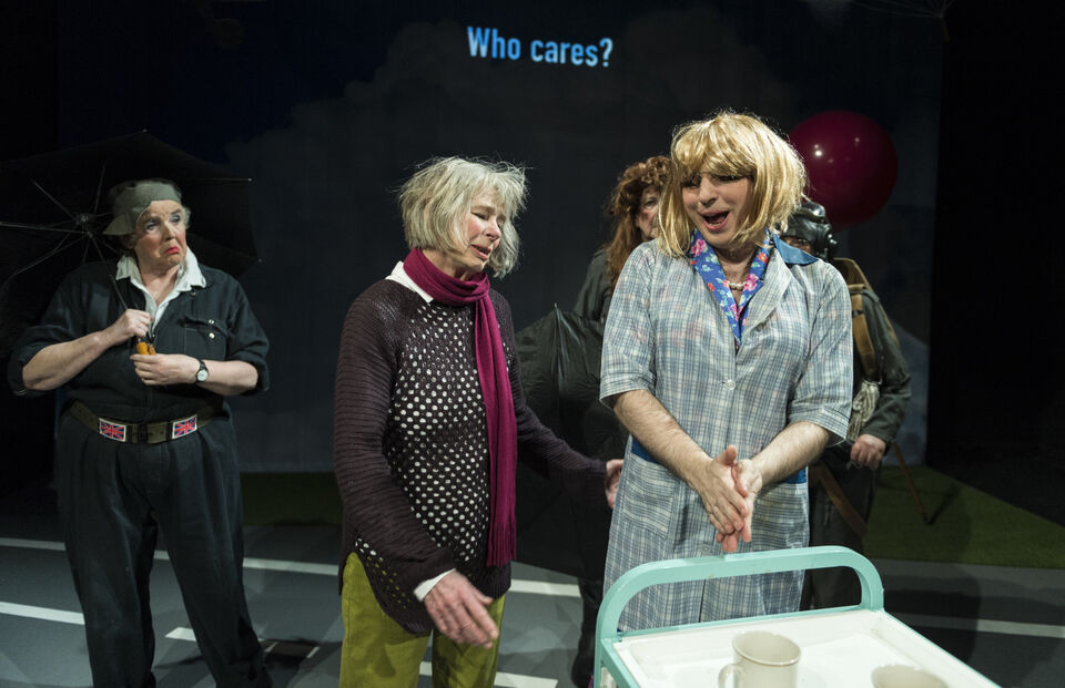 """Actors on stage in a production of """"SAFE"""""""