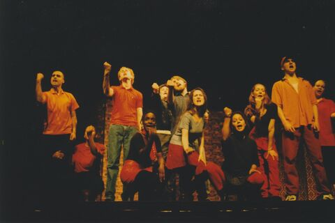 "Actors on stage performing ""Shortchanged"""